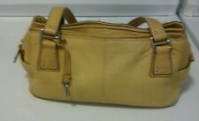 Fossil Soft Pebbled Yellow Leather Double Handle Shoulder Bag Purse With Key