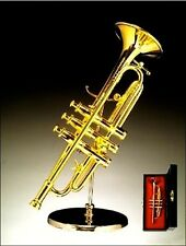 "Miniature Musical Instrument - 4.5"" GOLD TRUMPET MINIATURE W/STAND & CASE"
