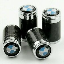 BMW Carbon Fibre Valve Dust Caps Car Tyre Wheel Cover Set 4 Black Chrome M Sport