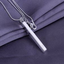 "LONG BAR 925 STERLING SILVER PLATED SOLID PENDANT w 18"" NECKLACE JEWELRY"