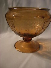 VINTAGE APRICOT AMBER COLOR GLASS  PRINCESS STYLE CANDY DISH