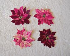 ASSORTED  POINSETTIAS PINK & BURGUNDY WITH GOLD METALLIC IRON ON APPLIQUES
