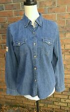 Harley Davidson Biker Blues Denim Jean Shirt LS Womens Ladies Med/ Large
