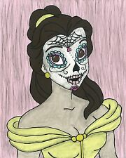 Belle Day of the Dead print 8X10, Comic character and Pop Art