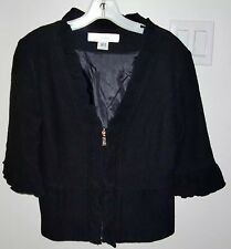 MAC & JAC BLACK RUFFLE ZIPPER UP RAYON WOOL JACKET TOP size MEDIUM