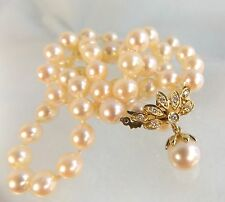 Matched 7 mm Japanese Akoya Pearl necklace Diamond set solid 14ct gold  clasp