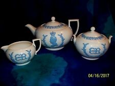 1937 WEDGWOOD QUEENSWARE CORONATION KING EDWARD VIII TEAPOT, SUGAR BOWL CREAMER