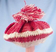 """Doll Hat Tam o Shanter Beret Crocheted Red & White 11"""" Head Size SOME FADING"""