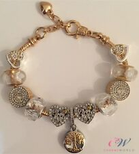 Gold Plated Charm Bracelet Two-tone Gold & Silver Dazzling Charms - Gift