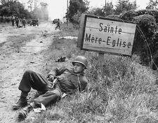 WWII B&W Photo US Soldier St. Mere-Eglise SIgn M1 Carbine D-Day   WW2 / 1145