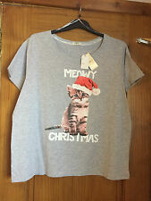 Ladies CAT/KITTEN Christmas T-shirt/top - PLUS SIZE 20-22 - BNWT  Party/xmas