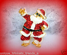 VINTAGE CHRISTMAS RED SANTA CLAUS GLITTER ENAMEL GOLD TONE PIN BROOCH~90'S NOS