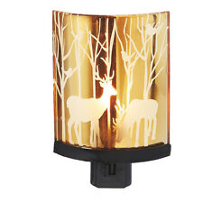 Deer Scene w/Trees Glass Silhouette Night Light