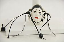 VINTAGE ARTISAN SIGNED Jewelry HAND CRAFTED PIERROT THE CLOWN CERAMIC PENDANT #2