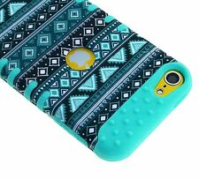 For iPod Touch 5th / 6th Gen - HYBRID IMPACT ARMOR CASE TEAL GREEN / BLUE AZTEC
