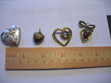 Lot of 4 Vintage Costume Jewelry Hearts Pins & Pendants