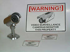 LOT OF FAKE SECURITY CCTV SILVER SPY CAMERA + LED + BONUS WARNING SIGN + DECALS