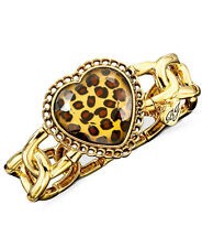 BETSEY JOHNSON Leopard Heart Gold-Tone Stretch Bangle Bracelet $40