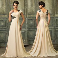 Apricot Maxi Long Bridesmaid Dress Prom Ball Gown Formal Evening Party Cocktail