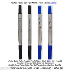 4 x Parker Quink Roller Ball Pen Refill Fine Nib Blue & Black Ink USA Seller