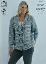KNITTING PATTERN Ladies Long Moss Stitch Sleeve Jacket SuperChunky KingCole 3850