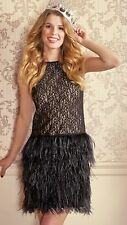 Rare! ZARA Black Lace Feather Dress Size Extra Small XS Prom Cocktail Party