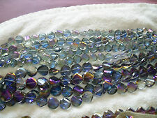 Joblot of 10 strings Grey colour Disc shape faceted Crystal beads new wholesale