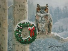 Owl tree Snow Christmas  ACEO print from original oil by Joy Campbell