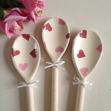 Emma Bridgewater Pink Hearts Set of  3 Decorative Wooden Spoons Shabby Chic