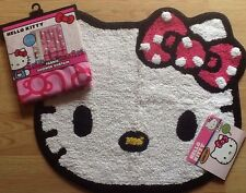 "NEW Sanrio Hello Kitty Fabric Shower Curtain AND Cotton Bath Rug Mat 26"" X 22"""
