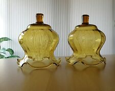 2 HOMCO Home Interiors fluted ruffled amber glass votive candle holders/cups