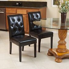 Set of 2 Elegant Black Leather Dining Room Chairs With Tufted Backrest