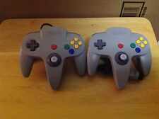 Two (2x) Genuine Nintendo 64 Grey Controller (s) - N64 - OEM/Official - 1F