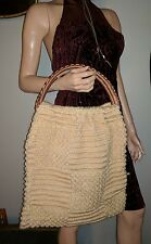 VINTAGE WOOL POPCORN SWEATER TOE BAG SHOPPER HANDBAG BEIGE TAN BIG WICKER