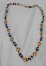 ITALIAN ROYAL BLUE ENAMEL ON GOLD TONE NECKLACE AND OR BRACELET TOGGLE CLOSURE S