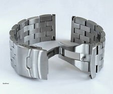 26mm HEAVY SOLID BRUSHED DOUBLE LOCK STAINLESS STEEL WATCH BAND,BRACELET + PINS