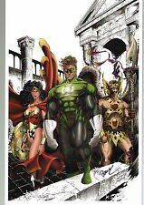 DC's TRIPLE THREAT PRINT HAND SIGNED J Balke Wonder Woman Green Lantern Hawkman