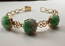 Stunning Chinese Carved Jade 14K 14CT Yellow Gold Vintage Bracelet 12.6g