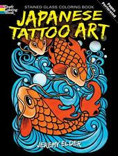 ADULT COLORING BOOK ~ JAPANESE TATTOO ART STAINED GLASS ~ REMOVEABLE PGS 2 FRAME