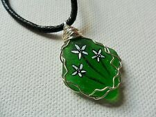 "Hand painted daisy green sea glass necklace - 18"" black cord art jewellery"