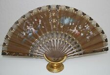 AB125 ANTIQUE FAN. CARVED STICKS. HAND PAINTED TULLE. SPAIN. 19th CENTURY