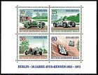 Mercedes Silver Arrow on Car Racing 1937. Nice mint Berlin Stamp Sheet of 1971.
