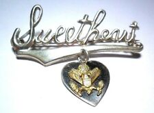 VINTAGE WW II US ARMY SWEETHEART PIN BROOCH STERLING SILVER 925