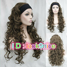 New! Lady Brown Long Curly Wavy Daily 3/4 Half Wig Headband Cosplay Wigs