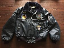 VTG US NAVY FLIGHT BOMBER JACKET WITH PATCHES SIZE LARGE VINTAGE