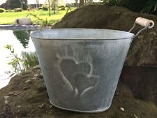 Oval Metal Planter Pot Hearts Vintage Shabby Bucket Rustic Wedding Table Vase
