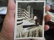 VINT SNAPSHOT PHOTO PROUD SAILOR WITH HIS GREAT SHIP MODEL & AMERICAN FLAG