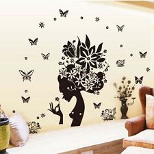 Butterfly Flowers Tree Wall Stickers Removable Home Decor Vinyl Art Mural Decals