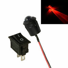 Large 10mm LED Flashing Red Car Motorcycle Shed Dummy Fake Alarm + Switch 12V