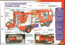 Fire engine FPT Fourgon-Pompe Léger Sides Camiva Iveco FICHE Pompier FIREFIGHTER